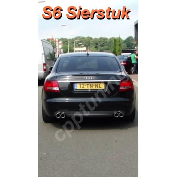 Uitlaat-sierstuk S6 Audi las versie A6 2.0 TDI 1.8 TFSI 3.0 TDI TFSi 3.2 TSI 4.2 TSI V.A 2002 T//M heden.