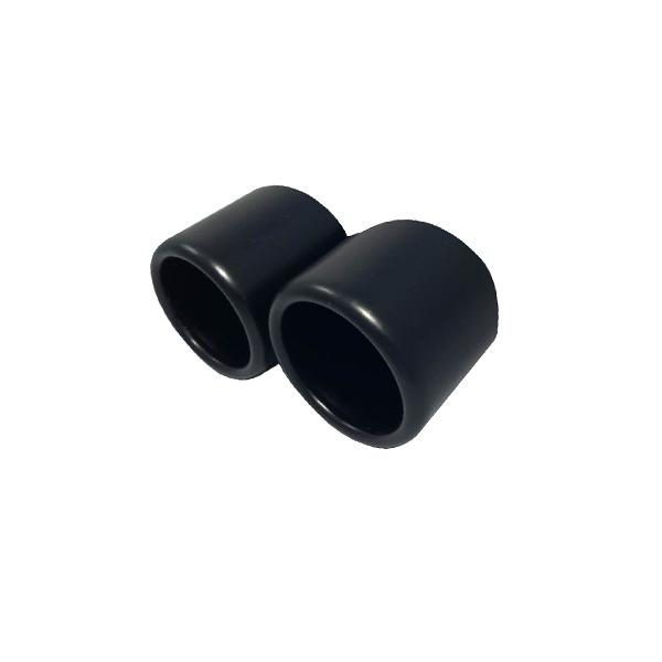 Zwart uitlaatsierstuk 2st Rond 76mm passend 60-74mm
