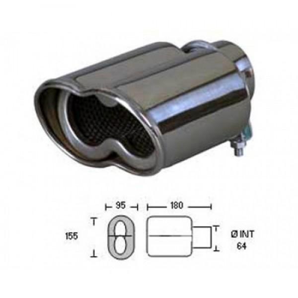 Uitlaatsierstuk RVS Wave 95x155mm Passend 45-62mm enkel sierstuk